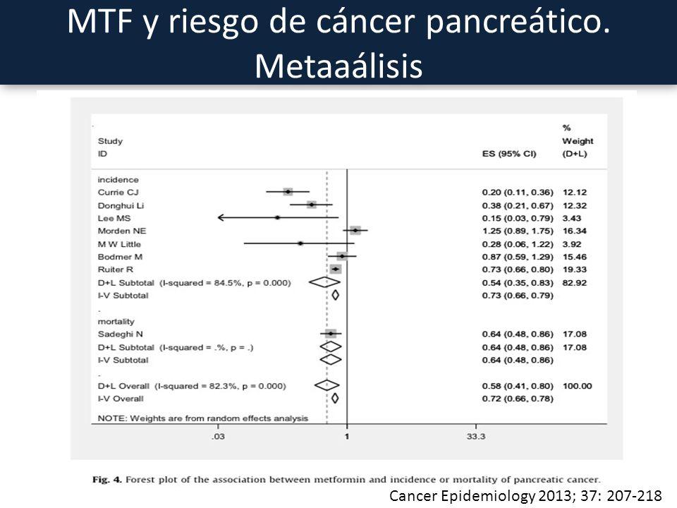 MTF y riesgo de cáncer pancreático. Metaaálisis Cancer Epidemiology 2013; 37: 207-218