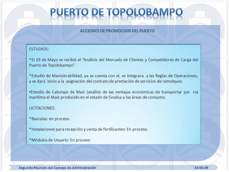 Segunda Reunión del Consejo de Administración 23-06-09 ESTUDIOS: *El 29 de Mayo se recibió el Análisis del Mercado de Clientes y Competidores de Carga del Puerto de Topolobampo.