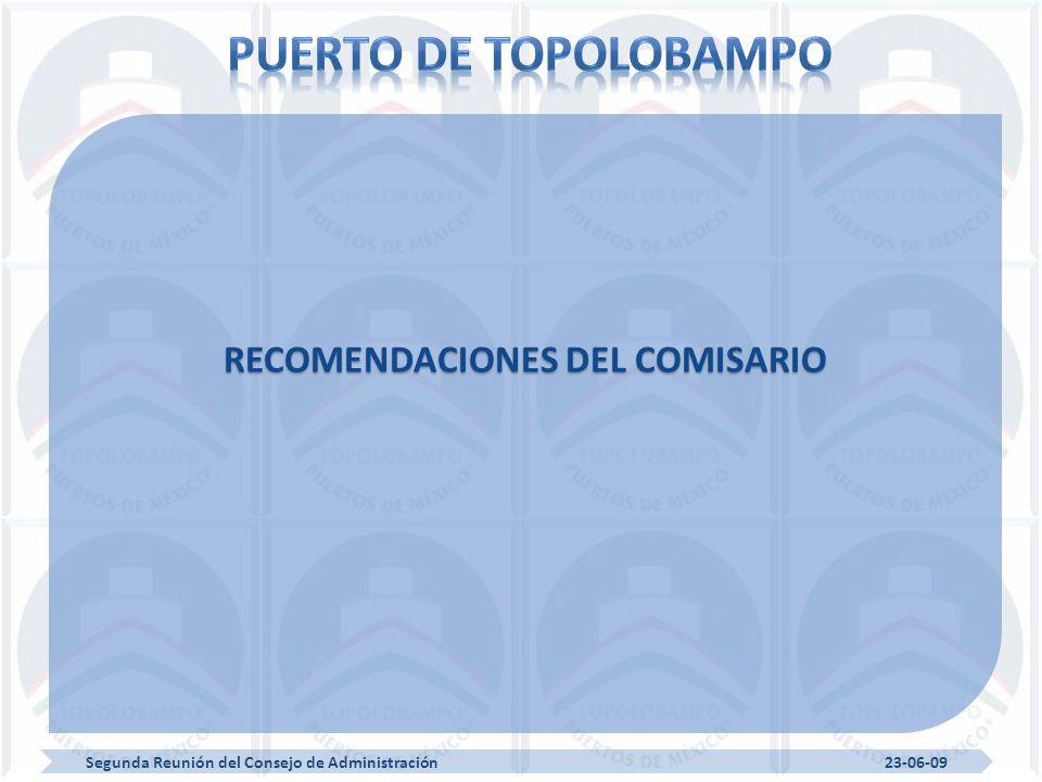 Segunda Reunión del Consejo de Administración 23-06-09 RECOMENDACIONES DEL COMISARIO