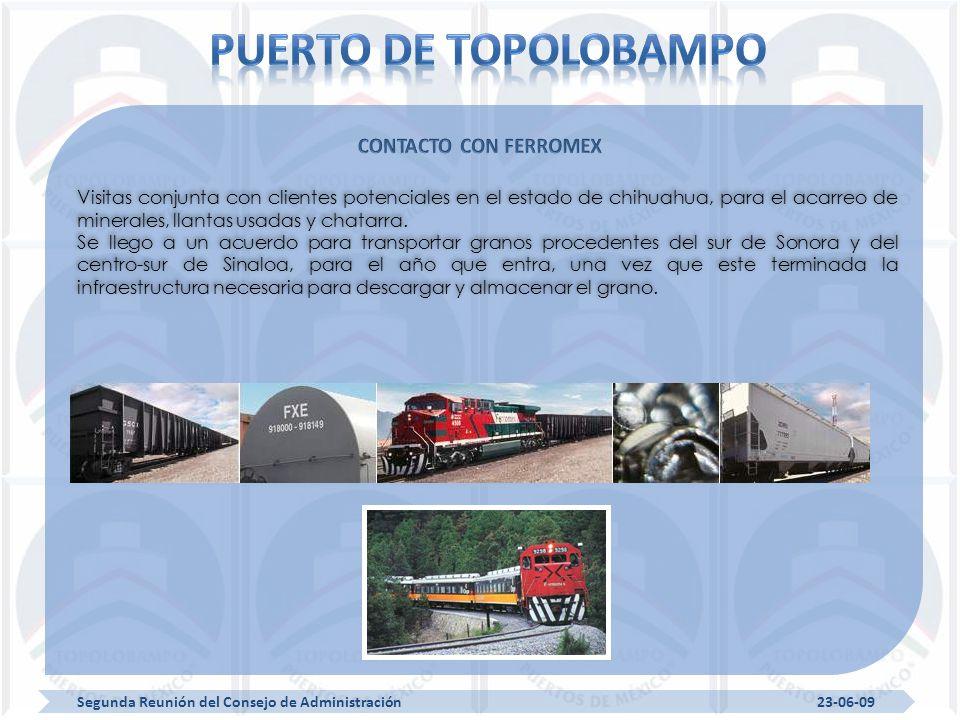 Segunda Reunión del Consejo de Administración 23-06-09 Visitas conjunta con clientes potenciales en el estado de chihuahua, para el acarreo de minerales, llantas usadas y chatarra.