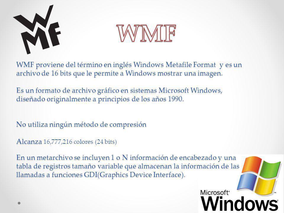 WMF proviene del término en inglés Windows Metafile Format y es un archivo de 16 bits que le permite a Windows mostrar una imagen. Es un formato de ar