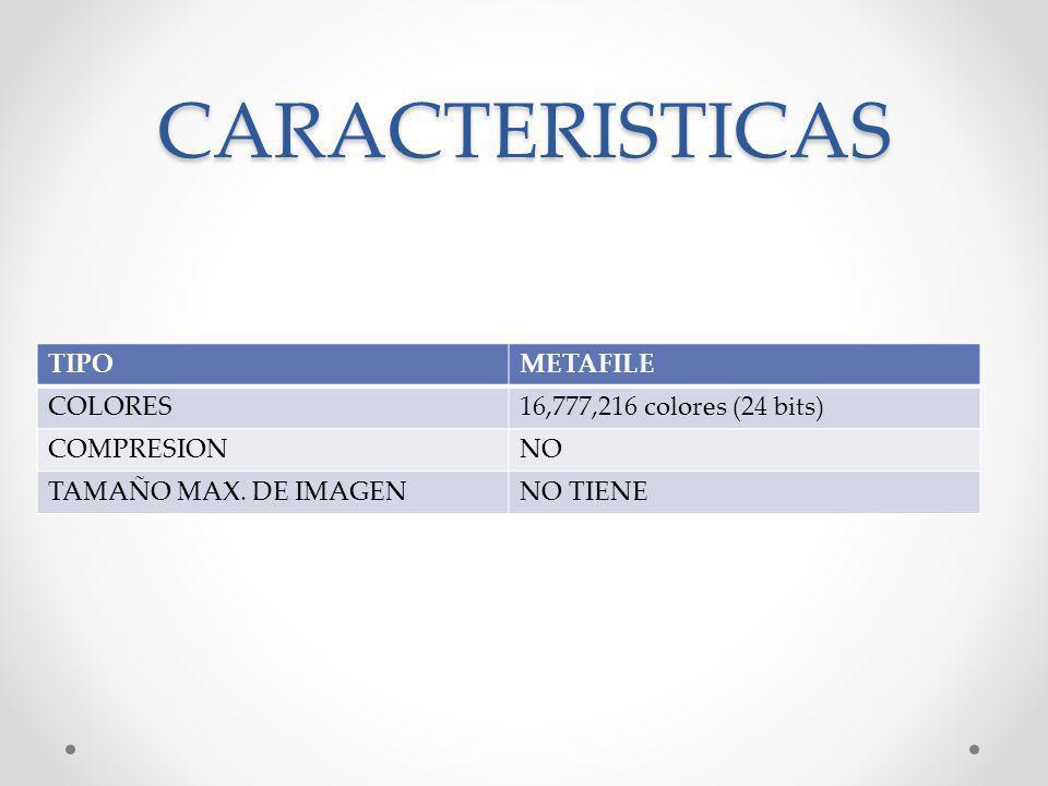 CARACTERISTICAS TIPOMETAFILE COLORES16,777,216 colores (24 bits) COMPRESIONNO TAMAÑO MAX. DE IMAGENNO TIENE
