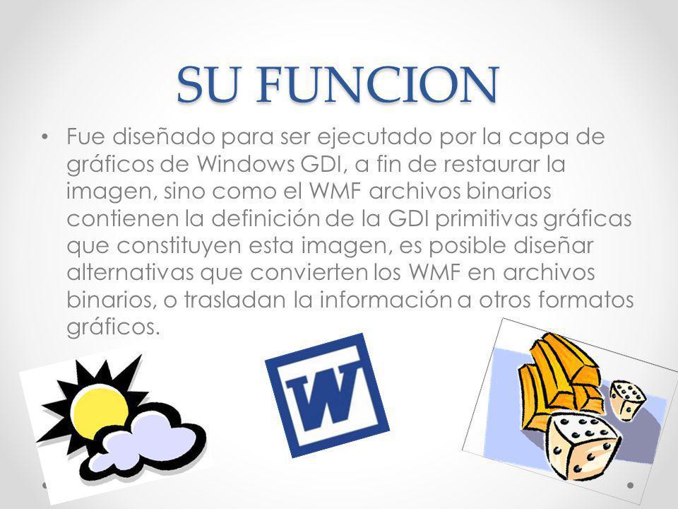SU FUNCION Fue diseñado para ser ejecutado por la capa de gráficos de Windows GDI, a fin de restaurar la imagen, sino como el WMF archivos binarios co