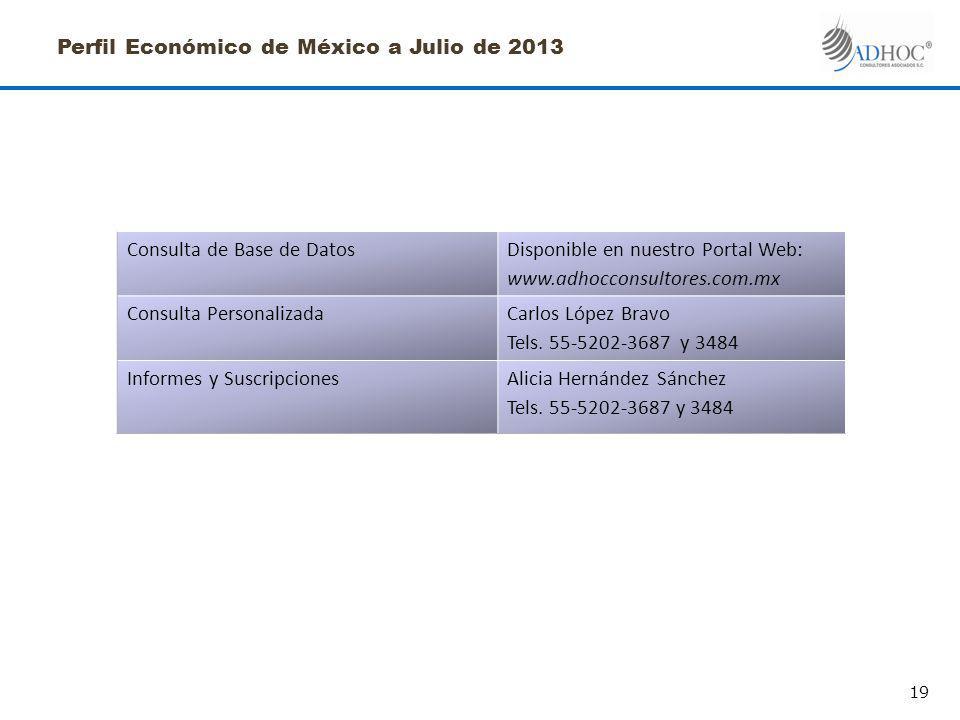 Perfil Económico de México a Julio de 2013 Consulta de Base de DatosDisponible en nuestro Portal Web: www.adhocconsultores.com.mx Consulta PersonalizadaCarlos López Bravo Tels.