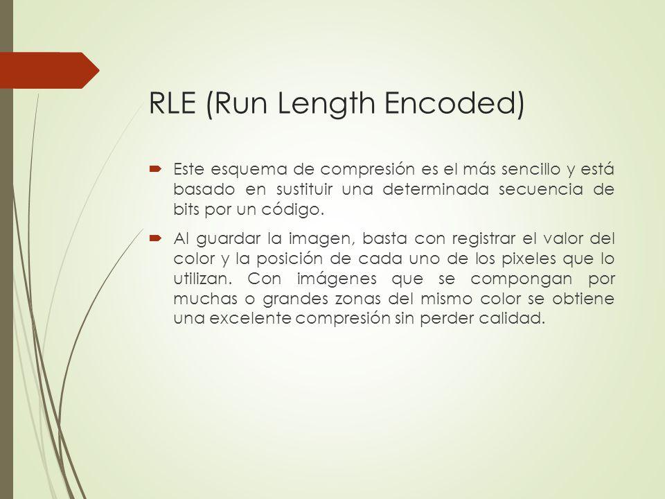 RLE (Run Length Encoded) Este esquema de compresión es el más sencillo y está basado en sustituir una determinada secuencia de bits por un código. Al