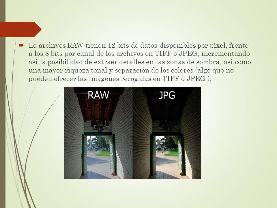 Lo archivos RAW tienen 12 bits de datos disponibles por píxel, frente a los 8 bits por canal de los archivos en TIFF o JPEG, incrementando así la posi