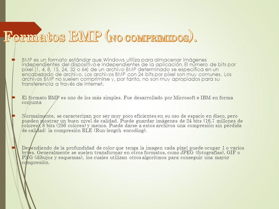 BMP es un formato estándar que Windows utiliza para almacenar imágenes independientes del dispositivo e independientes de la aplicación. El número de