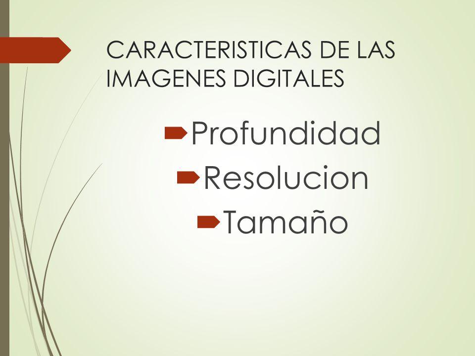 CARACTERISTICAS DE LAS IMAGENES DIGITALES Profundidad Resolucion Tamaño