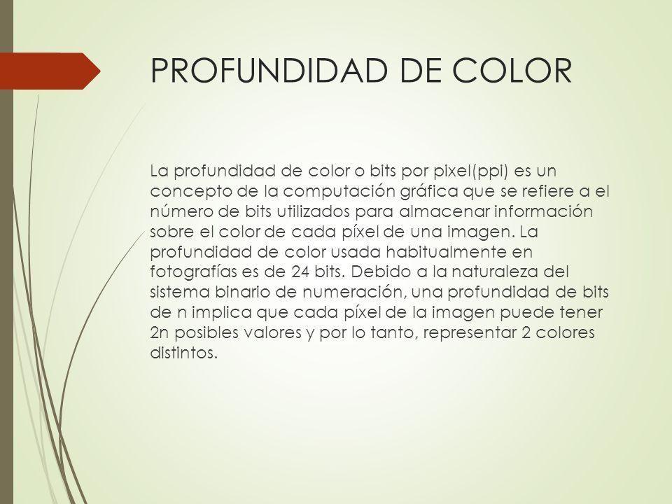 PROFUNDIDAD DE COLOR La profundidad de color o bits por pixel(ppi) es un concepto de la computación gráfica que se refiere a el número de bits utiliza