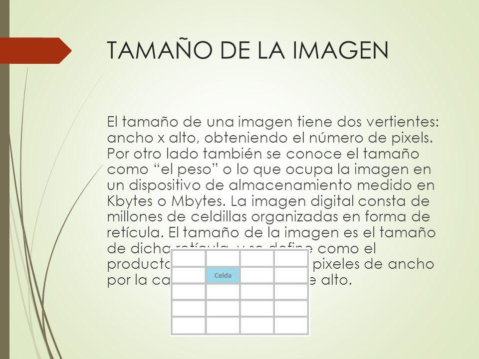 TAMAÑO DE LA IMAGEN El tamaño de una imagen tiene dos vertientes: ancho x alto, obteniendo el número de pixels. Por otro lado también se conoce el tam