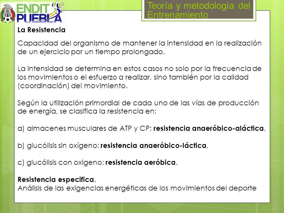 Teoría y metodología del Entrenamiento La Resistencia Capacidad del organismo de mantener la intensidad en la realización de un ejercicio por un tiemp