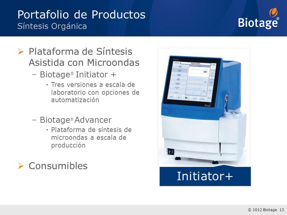 © 2012 Biotage 13 Plataforma de Síntesis Asistida con Microondas –Biotage ® Initiator + Tres versiones a escala de laboratorio con opciones de automat