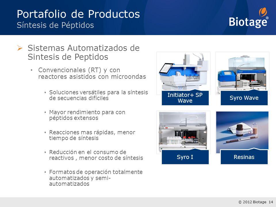 © 2012 Biotage 14 Sistemas Automatizados de Sintesis de Peptidos Convencionales (RT) y con reactores asistidos con microondas Soluciones versátiles pa