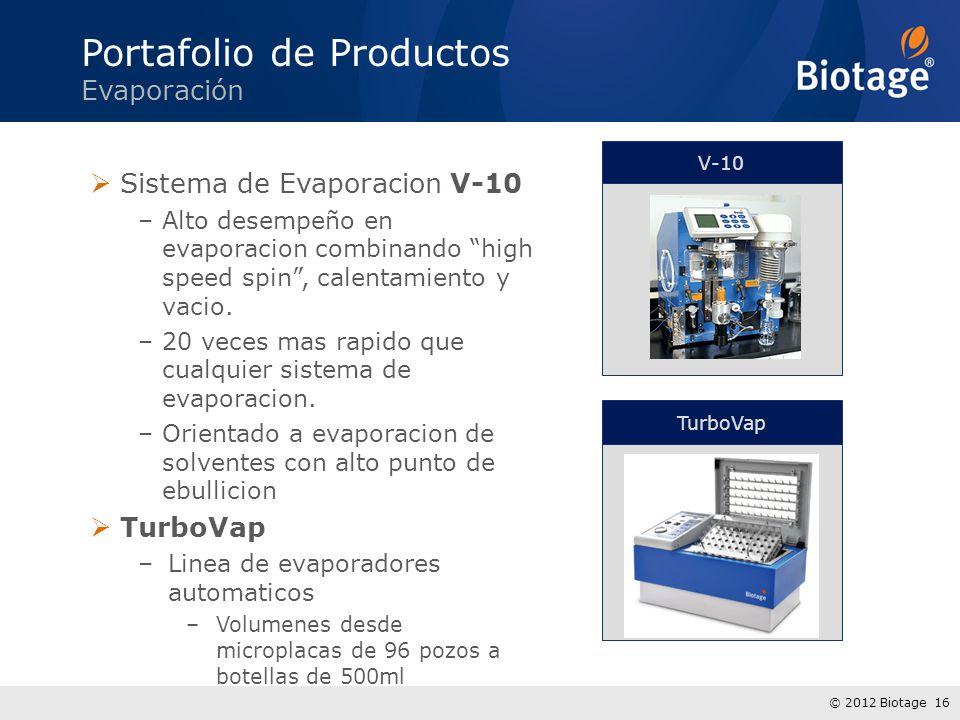 © 2012 Biotage 16 Sistema de Evaporacion V-10 –Alto desempeño en evaporacion combinando high speed spin, calentamiento y vacio. –20 veces mas rapido q