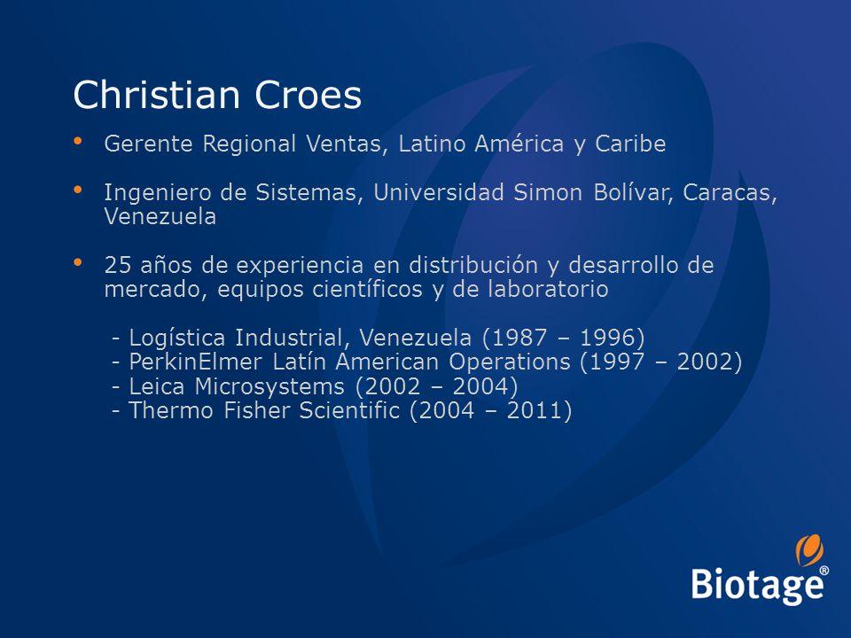 © 2012 Biotage 2 Christian Croes Gerente Regional Ventas, Latino América y Caribe Ingeniero de Sistemas, Universidad Simon Bolívar, Caracas, Venezuela