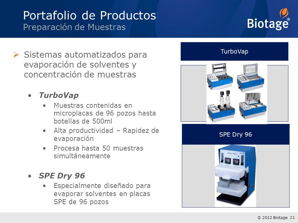 © 2012 Biotage 21 Sistemas automatizados para evaporación de solventes y concentración de muestras TurboVap Muestras contenidas en microplacas de 96 p