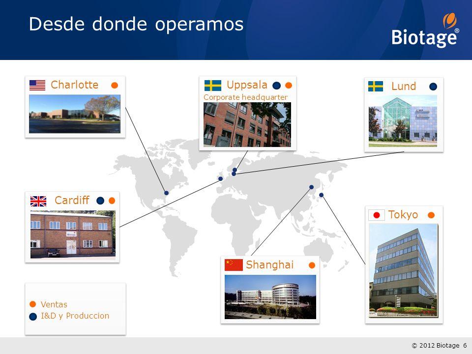 © 2012 Biotage 7 » Europa » Norte América » Latino América » Japón » China Cinco Mercados Regionales Mercados en donde participamos