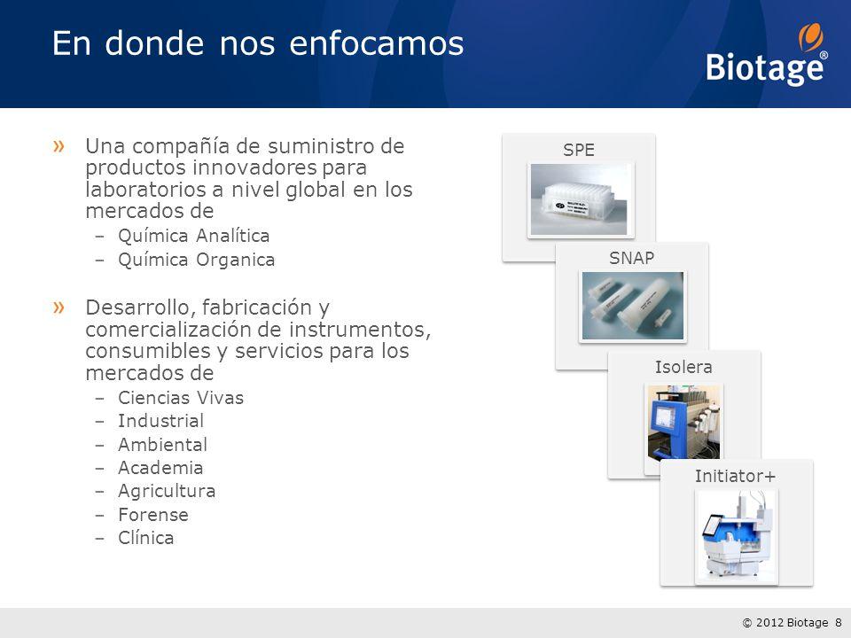 © 2012 Biotage 8 » Una compañía de suministro de productos innovadores para laboratorios a nivel global en los mercados de –Química Analítica –Química