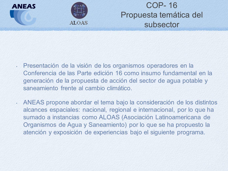 COP- 16 Propuesta temática del subsector Presentación de la visión de los organismos operadores en la Conferencia de las Parte edición 16 como insumo fundamental en la generación de la propuesta de acción del sector de agua potable y saneamiento frente al cambio climático.