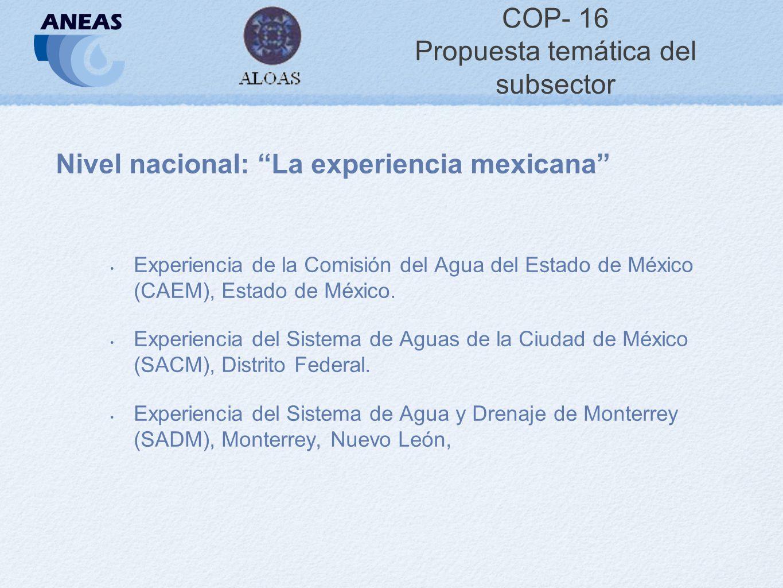 COP- 16 Propuesta temática del subsector Nivel nacional: La experiencia mexicana Experiencia de la Comisión del Agua del Estado de México (CAEM), Estado de México.