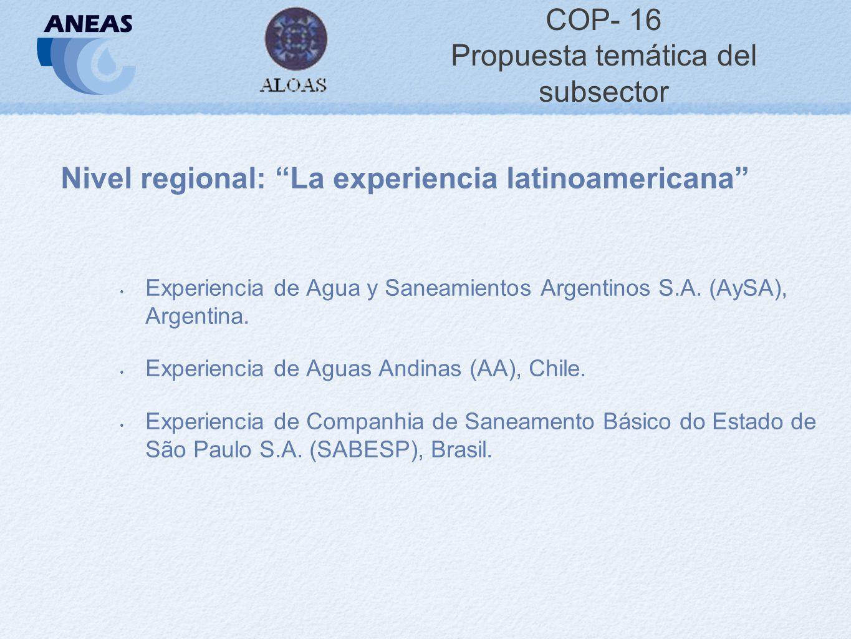 COP- 16 Propuesta temática del subsector Nivel regional: La experiencia latinoamericana Experiencia de Agua y Saneamientos Argentinos S.A.