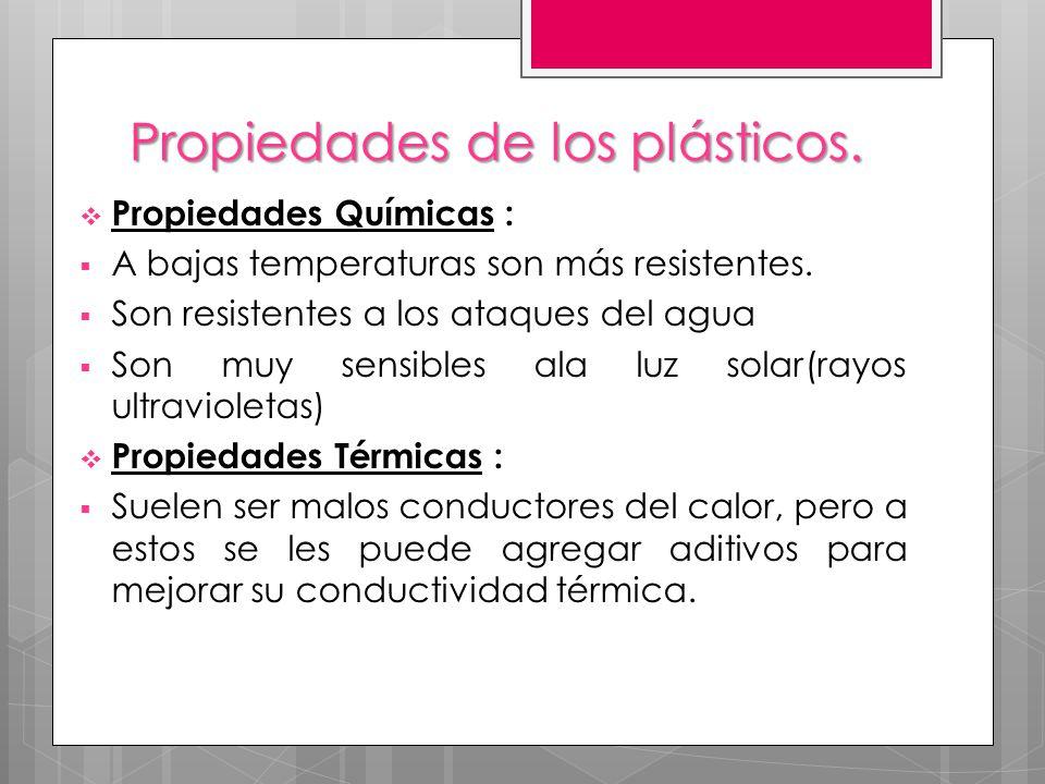 Propiedades de los plásticos. Propiedades Químicas : A bajas temperaturas son más resistentes. Son resistentes a los ataques del agua Son muy sensible