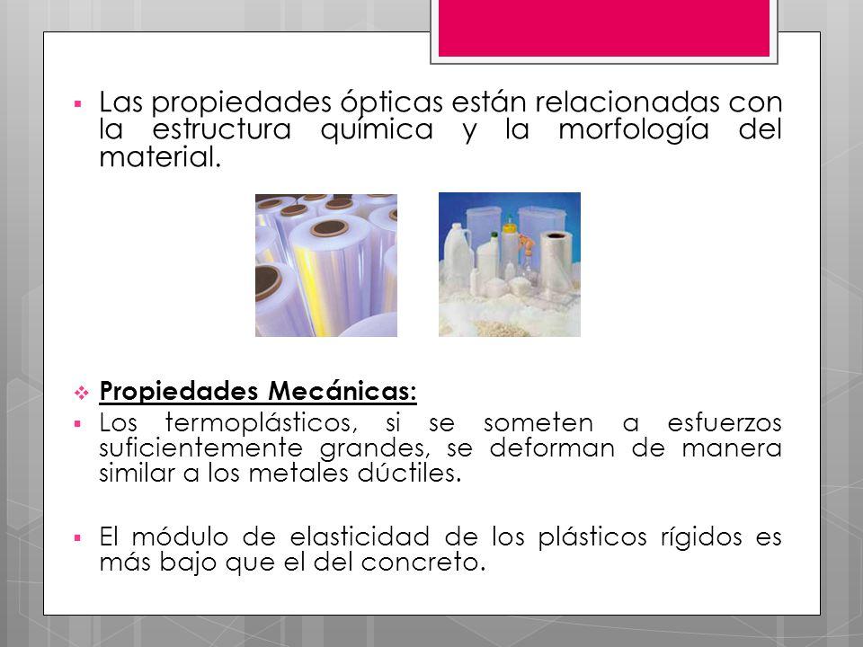 Las propiedades ópticas están relacionadas con la estructura química y la morfología del material. Propiedades Mecánicas: Los termoplásticos, si se so