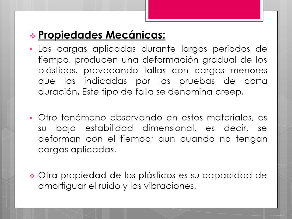 Propiedades Mecánicas: Las cargas aplicadas durante largos periodos de tiempo, producen una deformación gradual de los plásticos, provocando fallas co