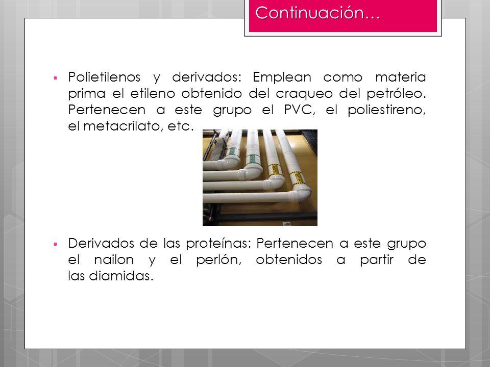 Polietilenos y derivados: Emplean como materia prima el etileno obtenido del craqueo del petróleo. Pertenecen a este grupo el PVC, el poliestireno, el
