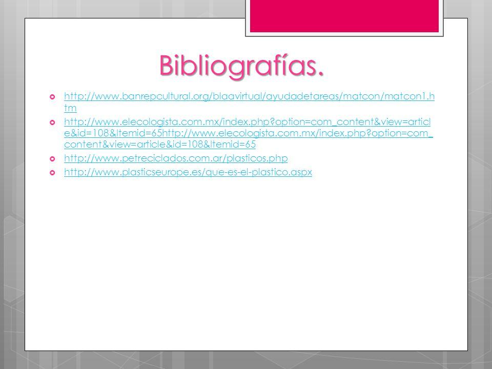Bibliografías. http://www.banrepcultural.org/blaavirtual/ayudadetareas/matcon/matcon1.h tm http://www.banrepcultural.org/blaavirtual/ayudadetareas/mat