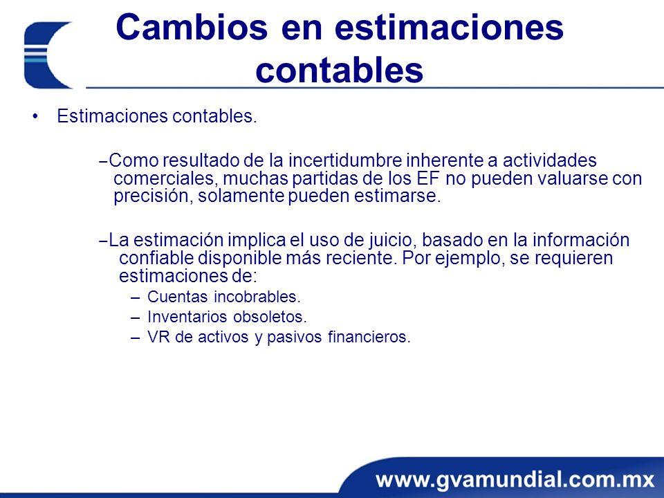 Cambios en estimaciones contables Estimaciones contables. Como resultado de la incertidumbre inherente a actividades comerciales, muchas partidas de l