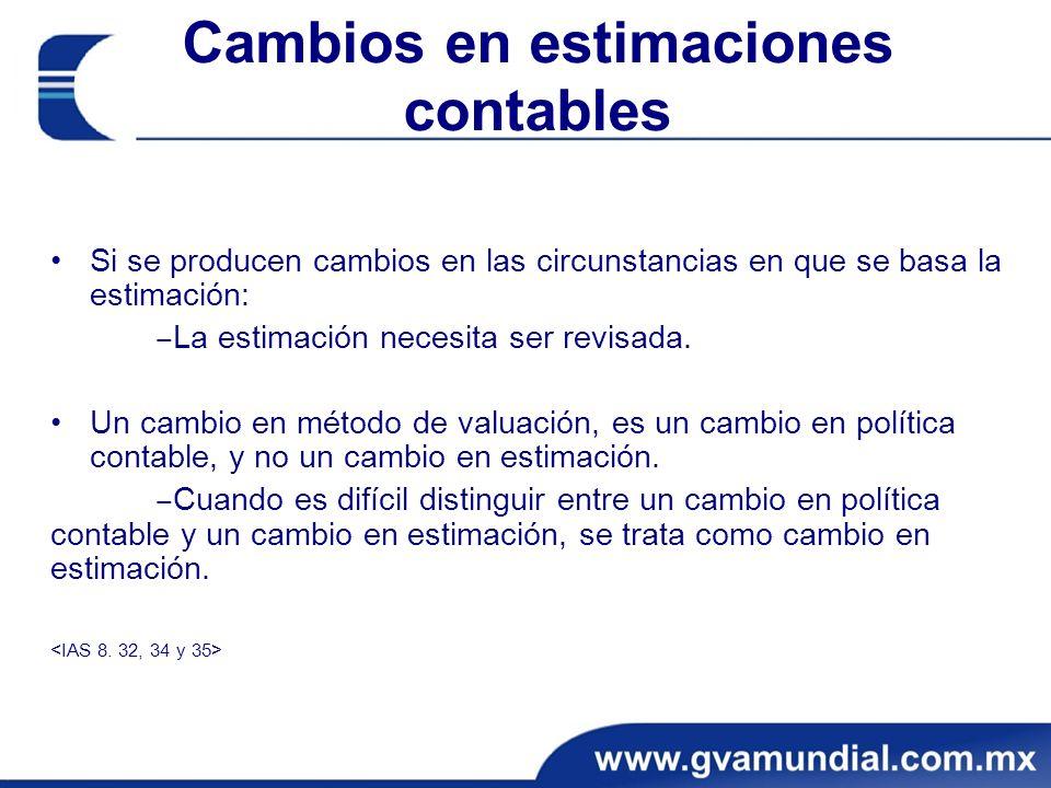 Cambios en estimaciones contables Si se producen cambios en las circunstancias en que se basa la estimación: La estimación necesita ser revisada. Un c