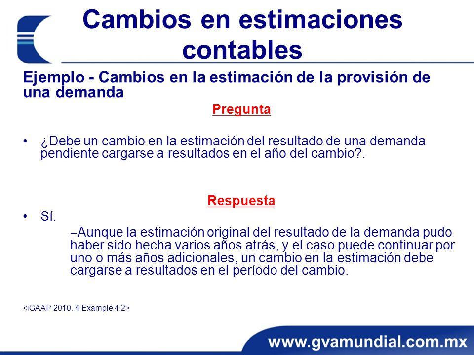 Cambios en estimaciones contables Ejemplo - Cambios en la estimación de la provisión de una demanda Pregunta ¿Debe un cambio en la estimación del resu