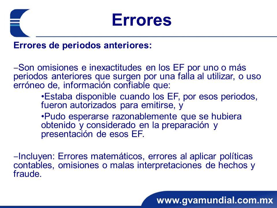 Errores Errores de periodos anteriores: Son omisiones e inexactitudes en los EF por uno o más periodos anteriores que surgen por una falla al utilizar