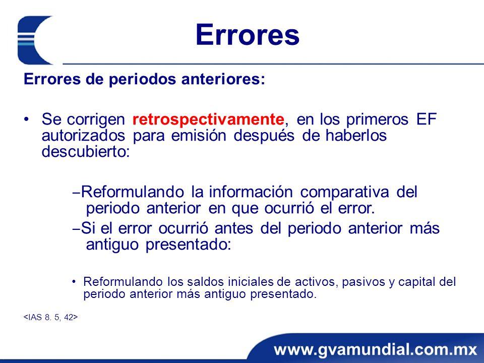 Errores Errores de periodos anteriores: Se corrigen retrospectivamente, en los primeros EF autorizados para emisión después de haberlos descubierto: R