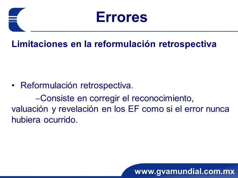 Errores Limitaciones en la reformulación retrospectiva Reformulación retrospectiva. Consiste en corregir el reconocimiento, valuación y revelación en