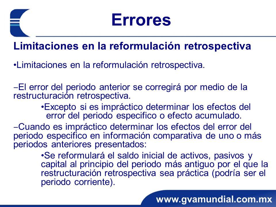 Errores Limitaciones en la reformulación retrospectiva Limitaciones en la reformulación retrospectiva. El error del periodo anterior se corregirá por