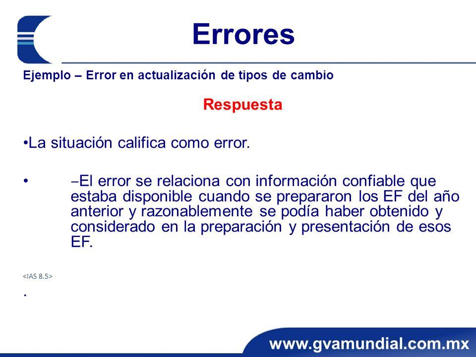Errores Ejemplo – Error en actualización de tipos de cambio Respuesta La situación califica como error. El error se relaciona con información confiabl
