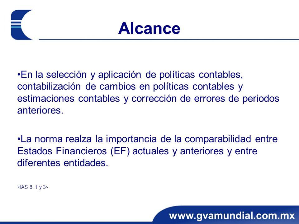 Alcance En la selección y aplicación de políticas contables, contabilización de cambios en políticas contables y estimaciones contables y corrección d