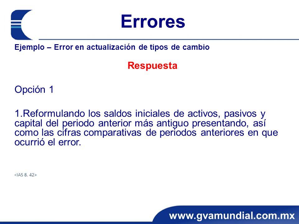 Errores Ejemplo – Error en actualización de tipos de cambio Respuesta Opción 1 1.Reformulando los saldos iniciales de activos, pasivos y capital del p