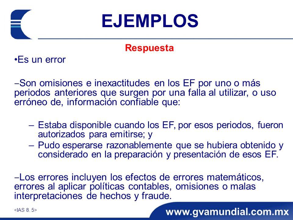 EJEMPLOS Respuesta Es un error Son omisiones e inexactitudes en los EF por uno o más periodos anteriores que surgen por una falla al utilizar, o uso e
