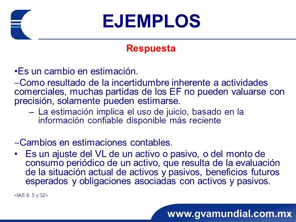 EJEMPLOS Respuesta Es un cambio en estimación. Como resultado de la incertidumbre inherente a actividades comerciales, muchas partidas de los EF no pu