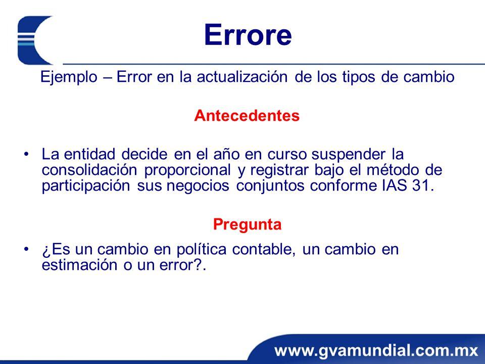 Errore Ejemplo – Error en la actualización de los tipos de cambio Antecedentes La entidad decide en el año en curso suspender la consolidación proporc
