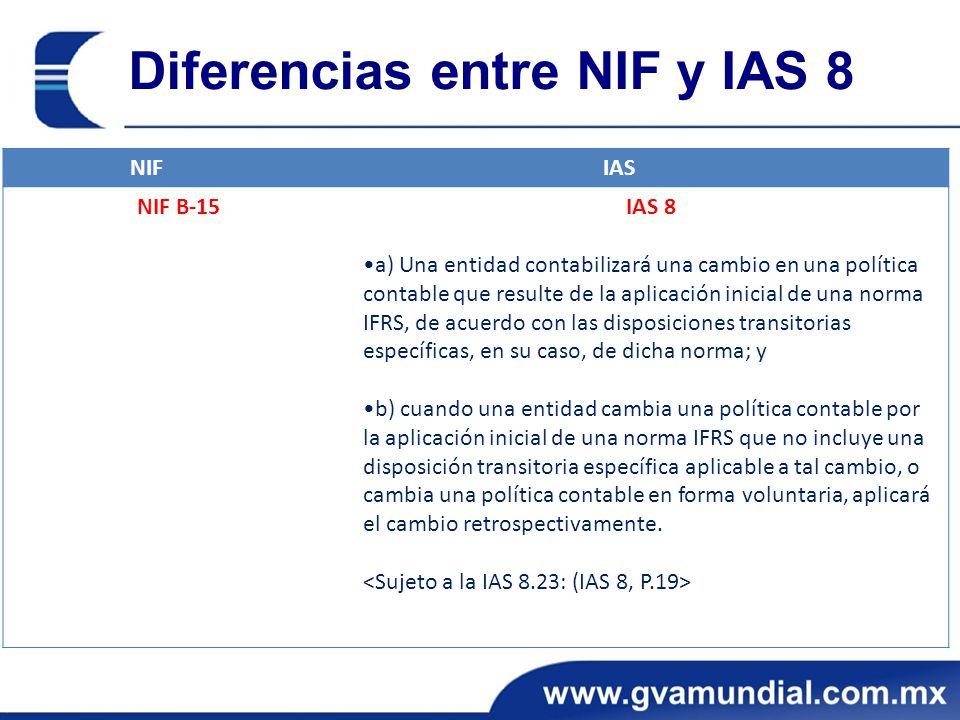 Diferencias entre NIF y IAS 8 NIFIAS NIF B-15IAS 8 a) Una entidad contabilizará una cambio en una política contable que resulte de la aplicación inici