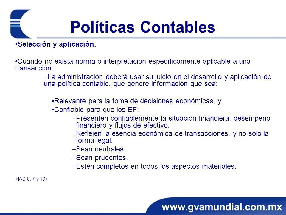 Políticas Contables Selección y aplicación. Cuando no exista norma o interpretación específicamente aplicable a una transacción: La administración deb