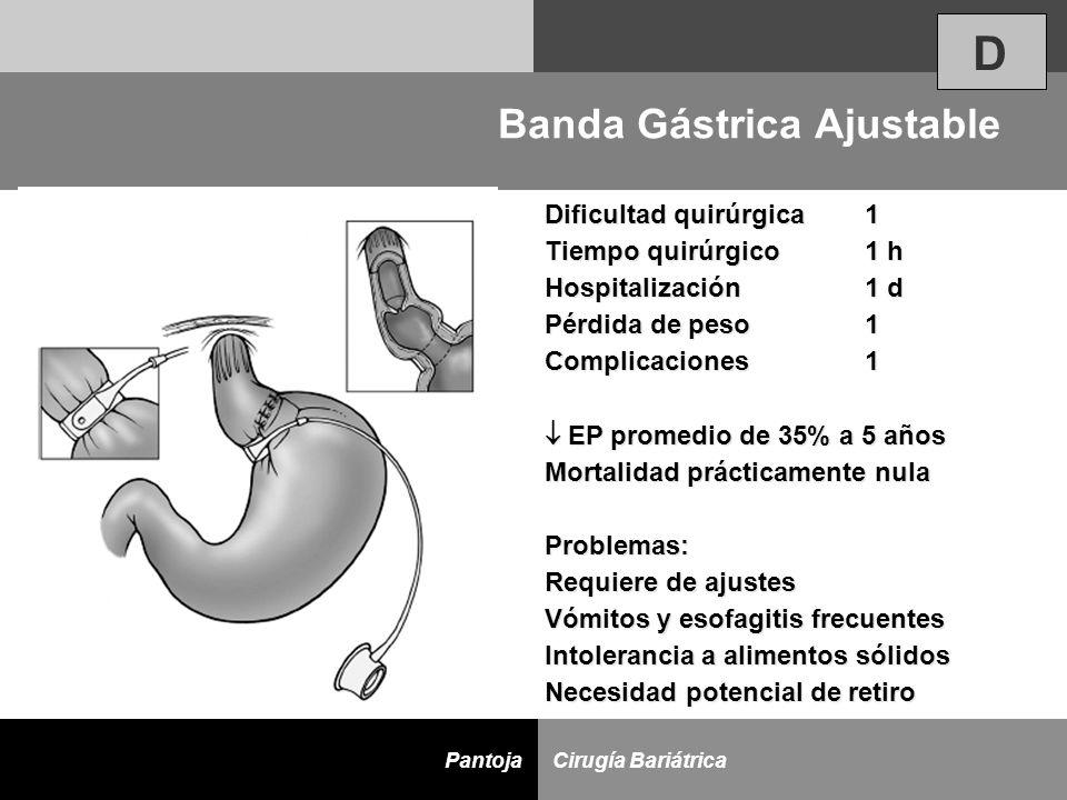 D Cirugía BariátricaPantoja Dificultad quirúrgica 1 Tiempo quirúrgico 1 h Hospitalización 1 d Pérdida de peso 1 Complicaciones 1 EP promedio de 35% a