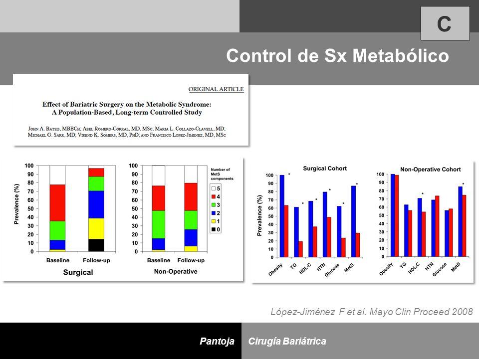 D Cirugía BariátricaPantoja Control de Sx Metabólico López-Jiménez F et al. Mayo Clin Proceed 2008 C