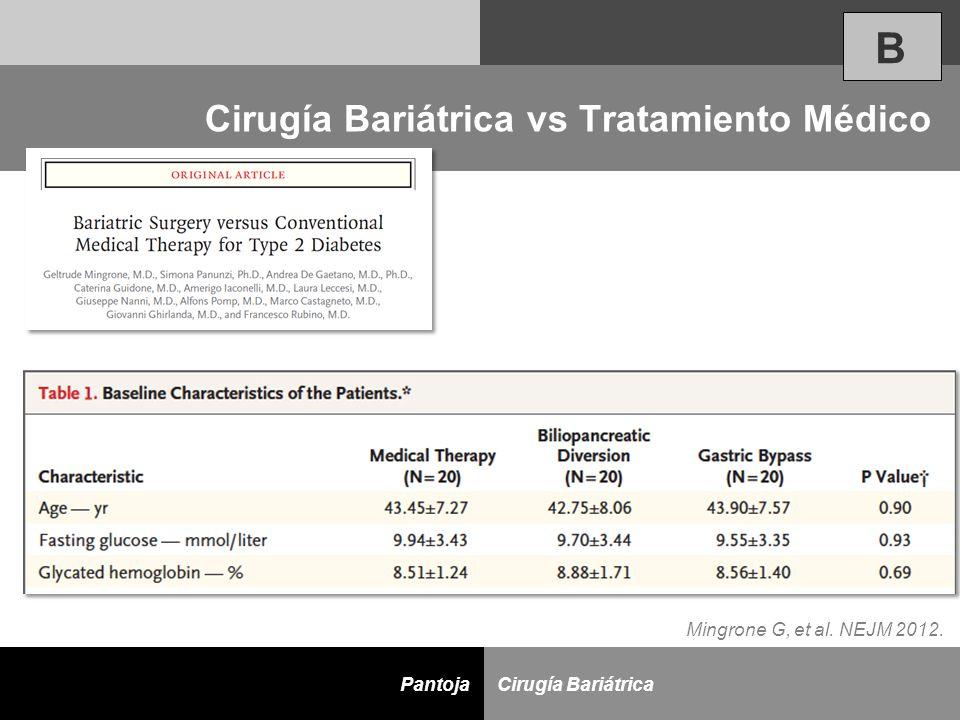 D Cirugía BariátricaPantoja Cirugía Bariátrica vs Tratamiento Médico B Mingrone G, et al. NEJM 2012.