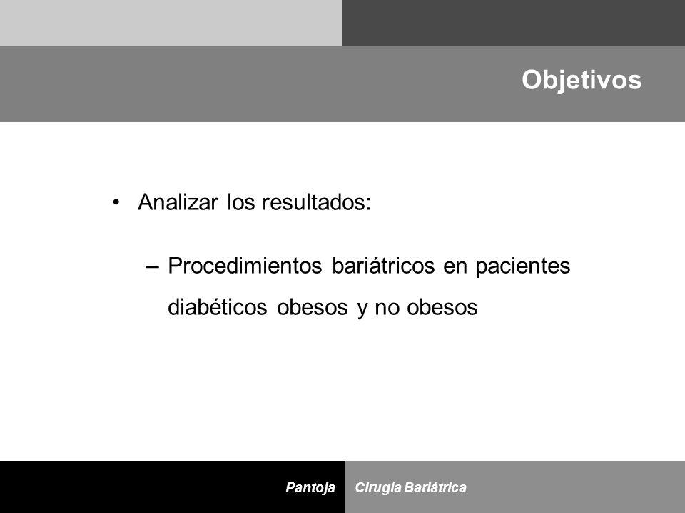 D Cirugía BariátricaPantoja Objetivos Analizar los resultados: –Procedimientos bariátricos en pacientes diabéticos obesos y no obesos