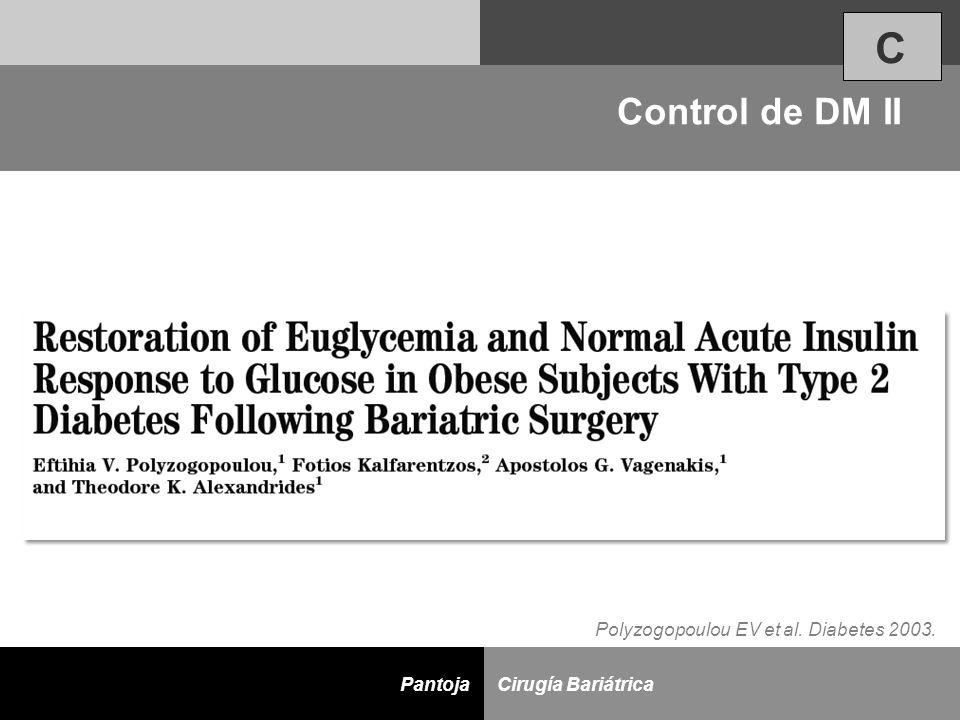 D Cirugía BariátricaPantoja Polyzogopoulou EV et al. Diabetes 2003. Control de DM II C